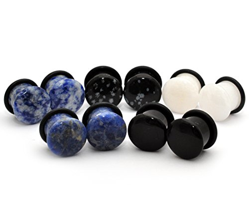 Mystic Metals Body Jewelry Set of 5 Pairs Single Flare Stone Plugs - Black Agate, White Jade, Snowflake Obsidian, Blue Lapis, Sodalite (1/2' (12mm))