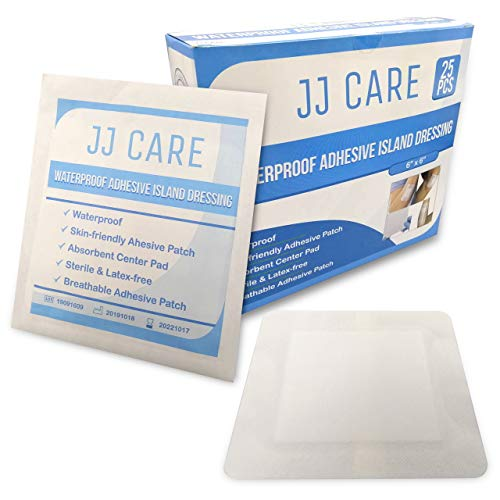 "JJ CARE [Pack of 25] Waterproof Adhesive Island Dressing 6"" x 6"", Sterile Wound Dressing, Adhesive Bandages, Breathable Bordered Gauze Pads, Latex Free, Individually Wrapped, Composite Dressing"