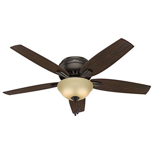 Hunter Newsome Indoor Low Profile Ceiling Fan with LED Light and Pull Chain Control, 52', Premier Bronze