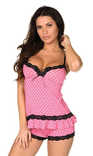 Velvet Kitten Sexy Hot Pink Lacey Date Night Short Set Polka Dot Cami Set Women's Pajama Set (Extra Large, Pink)