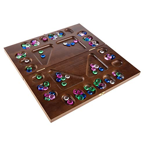 Mancala Board Game- 4 Player, Square Root Strategy Game, Folds for Storage or Travel & Includes 96 Plastic Stones for Kids & Adults by Hey! Play!, Brown