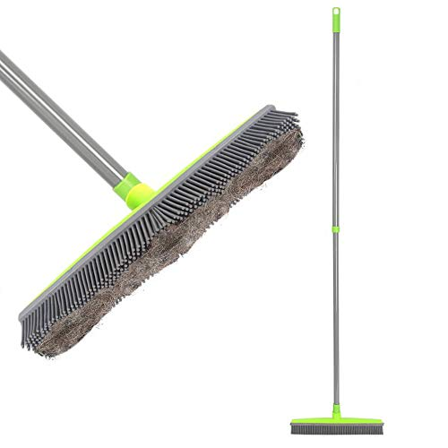 LandHope Push Broom Long Handle Rubber Bristles Sweeper Squeegee Edge 54 inches Non Scratch Bristle Broom for Pet Cat Dog Hair Carpet Hardwood Tile Windows Clean Water Resistant (Telescopic)