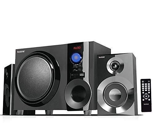 Boytone BT-210FB Wireless Bluetooth Stereo Audio Speaker with Powerful Sound, Bass System, Excellent Clear Sound & FM Radio, Remote Control, Aux-In Port, USB/SD/for Phone's, Laptops, Black, 30 W