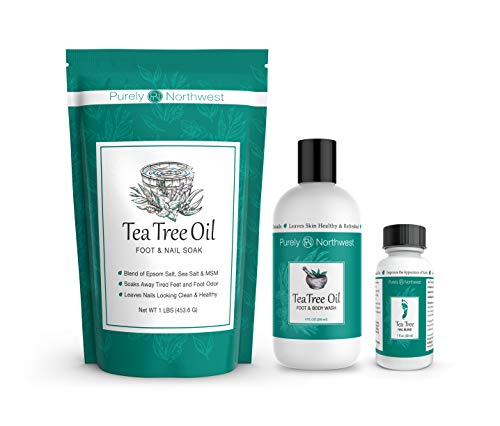 Purely Northwest Foot and Toenail Kit with Tea Tree Oil Foot Soak, Antifungal Tea Tree Oil Foot & Body Wash and Tea Tree Nail Blend-Our Total Foot Care Kit-Makes a Great Gift