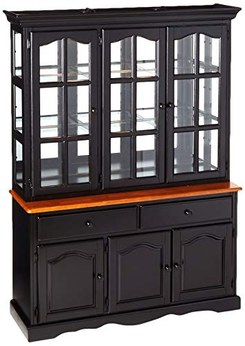 Sunset Trading Treasure Buffet and Lighted Hutch, Black/Cherry Finish