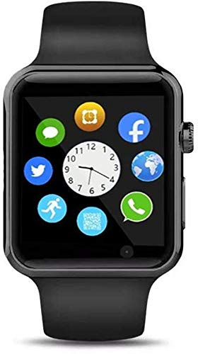 Qidoou Smart Watch Fitness Tracker,Smartwatches Compatible Android iOS Touchscreen Step Calorie Sleep Sedentary Monitor Waterproof, Call Message Music with SIM SD Slots Men Women (Black1)