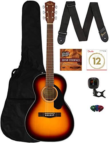 Fender CP-60S Solid Top Parlor Size Acoustic Guitar Bundle with Gig Bag, Tuner, Strap, Strings, Picks, Fender Play Online Lessons, and Austin Bazaar Instructional DVD - Sunburst