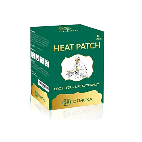 QiMoxa Natural Heat Patch-Pain Relief of Neck, Shoulder, Back, Sciatica, Joint, Muscle, Period Cramps-Moxibustion Vital Energy Heating Pads Penetrate Deep-Fast Acting Packs-Long Lasting Patches-10PCS