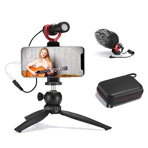 FULAIM Smartphone Video Microphone Kit, Shotgun Mic Rig Video Recording Accessories w/Phone Holder Tripod Compatible with iPhone Xs Max 11 Pro 8 Plus 7 Samsung Huawei etc. for TikTok YouTube Vlogging