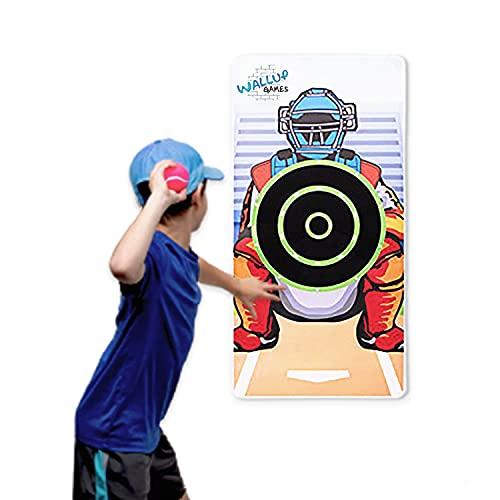 Wallup Games Kids Baseball Indoor Target Pitching Games, Removable Vinyl Wall Mat with 3 Indoor Baseballs, Hook and Loop Target