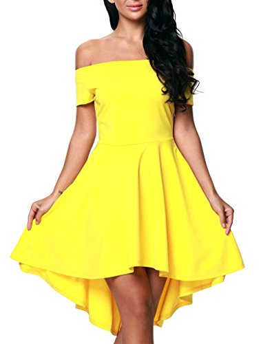 Sidefeel Women Off Shoulder Short Sleeve High Low Skater Dress XX-Large Yellow