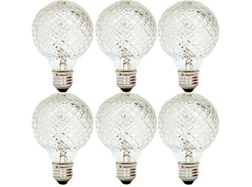 GE Halogen Globe Light Bulbs, G25 Faceted Globe Light Bulb, 40-Watt, 520 Lumen, Medium Base, Warm White, 6-Pack, Decorative Vanity Light Bulbs