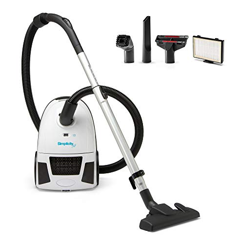 Canister Vacuum Cleaner | Simplicity Jill Compact Vacuum for Hardwood and Rugs | Dual Certified Hepa Filtration | Bagged