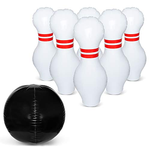 June Fox Giant Bowling Set, Inflatable Bowling Set for Kids, Plastic Bowling Game Play Set, Outdoor Lawn Bowling Play Set for Kids of All Ages, A Great Party Game for Kids and Family