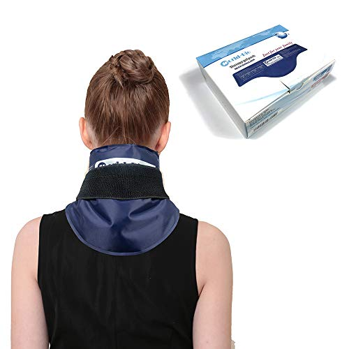 Neck Ice Pack Wrap, Hot/Cold Gel Pad Soothing Compression for Injuries, Migraines, Headache, Arthritis, Cold Therapy for Shoulder, Cervical, Muscle Pain, Neck Tension (20.6' X 7.2', Navy)