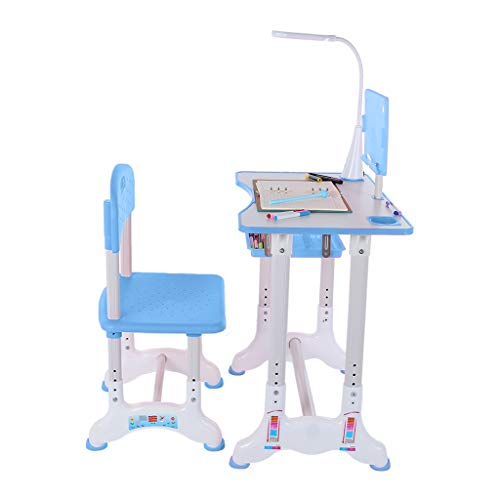 Sunskyi Kids Study Desk and Chair Set, Height Adjustable Table & Chair Drawing Set with Bookstand and Drawer, Ergonomic Student Writing Desk for Studying, Reading and Drawing (Blue)