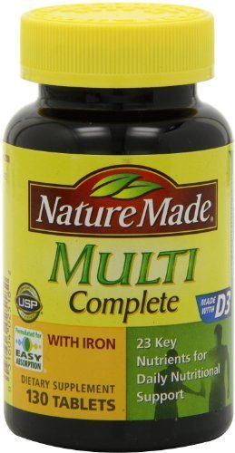 Nature Made Multi Complete with Iron 130 Tablets (PACK OF 2) by Nature Made