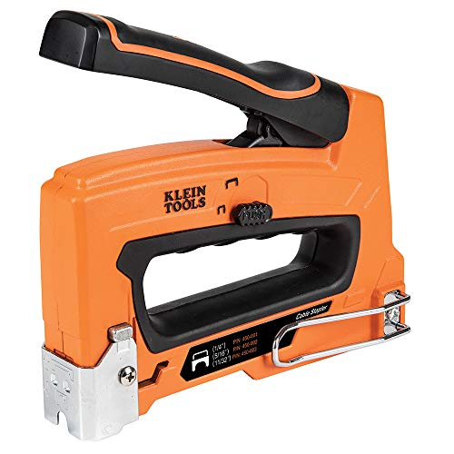 Klein Tools 450-100 Heavy Duty Stapler for Voice, Data, Video and Nonmetallic Sheathed (Romex) Cable Fits 1/4-, 5/16-, and 19/32-Inch Staples