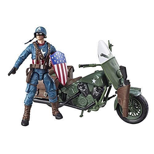 Marvel Legends Series 6'-Scale Captain America Collectible Action Figure with Motorcycle, Shield, & Helmet Accessories