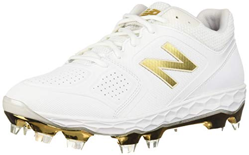 New Balance Women's Fresh Foam Velo V1 TPU Molded Softball Shoe, White/Gold, 7.5 W US