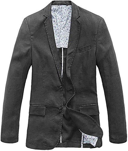 chouyatou Men's Lightweight Half Lined Two-Button Suit Blazer (Large, Dark Grey)