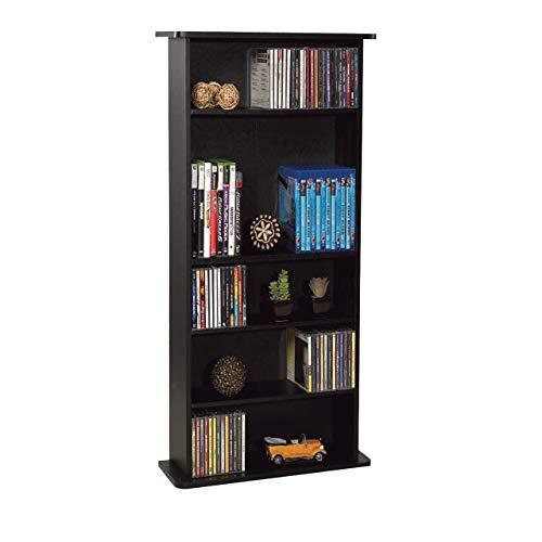 Atlantic Drawbridge Media Storage Cabinet - Store & Organize A Mix of Media 240Cds, 108DVDs Or 132 Blue-Ray/Video Games, Adjustable Shelves, PN37935726 in Black