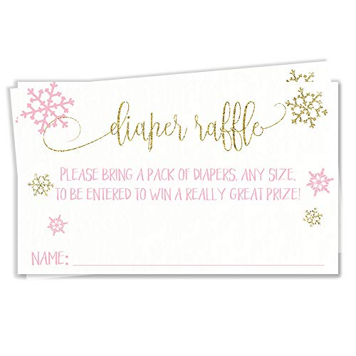 Winter Baby Shower Diaper Raffle Ticket Diaper Wipes Raffle Ticket Insert Request Prize Pink Gold Snowy Shimmery Glittery Glimmery Glitter Shimmer Glimmer Snow (24 Count)