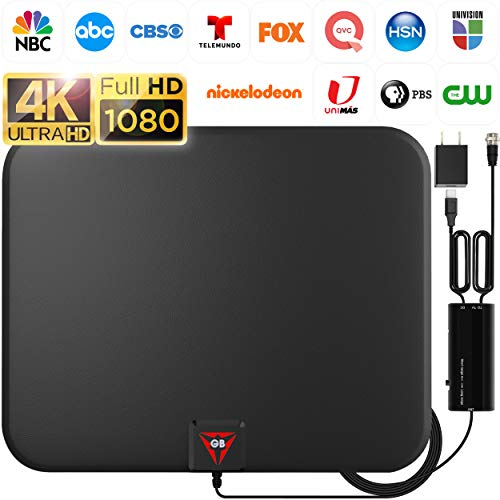 [Latest 2020] Amplified HD Digital TV Antenna Long 200 Miles Range - Support 4K 1080p Fire tv Stick and All Older TV's - Indoor Smart Switch Amplifier Signal Booster - 18ft Coax HDTV Cable/AC Adapter