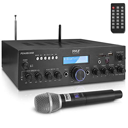 Wireless Microphone Power Amplifier System - 200W Dual Channel Sound Audio Stereo Karaoke Speaker Receiver w/ USB, AUX, Microphone IN w/ Echo, Radio,Home Theater via RCA, Studio Use - Pyle PDA8BUWM