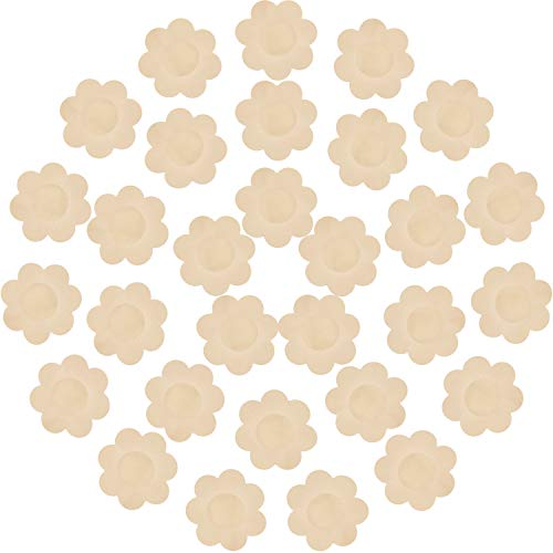 30 Pieces Nipple Cover Plum Shaped Disposable Breast Covers Self-adhesive Petal Bra Pasties (Skin)