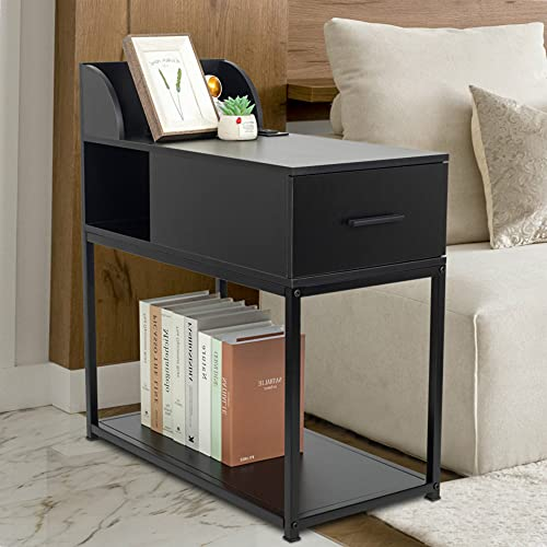 YOURLITE Nightstand with Power Outlet 2-Tier Narrow Nightstand Metal Frame Modern Sofa Side Table with 2 USB Charging Port for Small Space Living Room Bedroom Furniture (Black with USB)