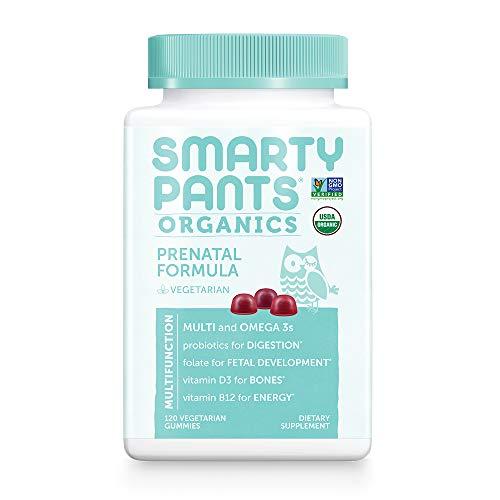 Daily Organic Gummy Prenatal Multivitamin:, Vitamin C, D3 & Zinc for Immunity, Biotin, Omega 3 Fish Oil, Selenium, B6, Methyl B12 for Energy by SmartyPants 120 Count (30 Day Supply) Packaging May Vary