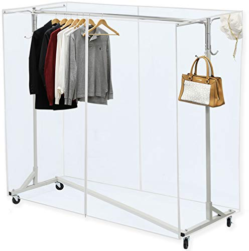 Simple Houseware Industrial Grade Z-Base Garment Rack, 400lb Load with 62' Extra Long bar w/Clear Cover and Tube Bracket