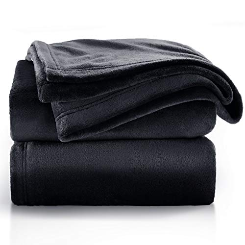 Bedsure Black Throw Blankets for Couch - Fleece Blankets Throw Size - Cozy Bed Blankets Microfiber
