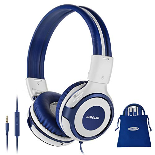 SIMOLIO Wired Headphones Teens Children Girls Boys, Adjustable 75dB,85dB,94dB Volume Limited, Durable Headphone w/Mic for School/PC/Cellphone, On-Ear Headphone Kids with Share Port 3.5mm Jack (Grey)