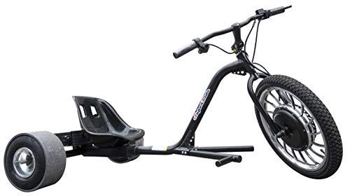 SUPERRIDE 1000Watts Electric Drift Trike | Brush-Less Motor, High Carbon Steel Frame, Front Hydraulic Brake & Tubeless Tires (Black)