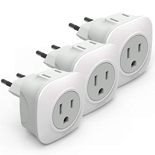 [3-Pack] European Travel Plug Adapter, VINTAR International Power Adaptor with 2 American Outlets- 2 in 1 European Plug Adapter for France, Germany, Greece, Italy, Israel, Spain (Type C)
