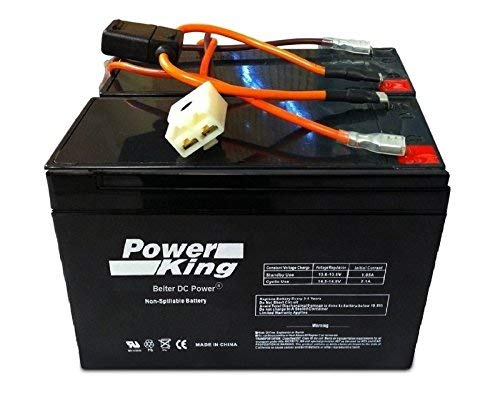 Razor Scooter Battery 12 Volt 7Ah Electric Scooter Replacement Batteries Brand High Performance - Set of 2 Includes New Wiring Harness (Replaces 6-DW-7) Beiter DC Power