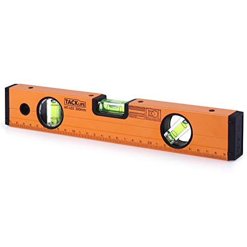 Level 12-Inch Aluminum Alloy Magnetic Torpedo Level Plumb/Level/45-Degree, Measuring Shock Resistant Spirit Level with Standard and Metric Rulers - Tacklife MT-L03