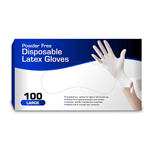 New Disposable Latex Gloves, Powder Free Large. (100 Gloves Per Box)