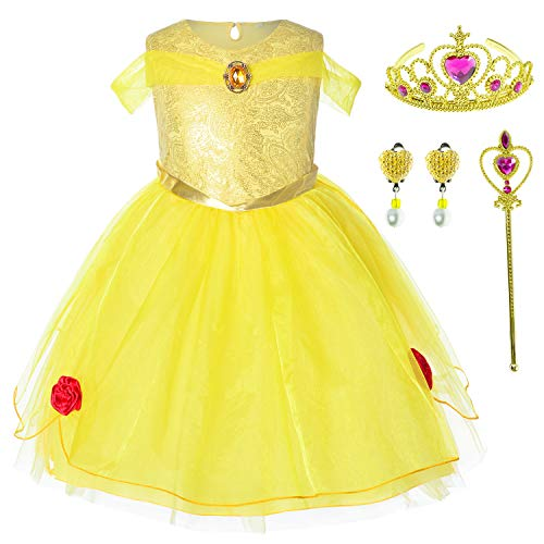Princess Beauty Costume Birthday Party Dress for Toddler Girls 5-6 Years (5T 6T)