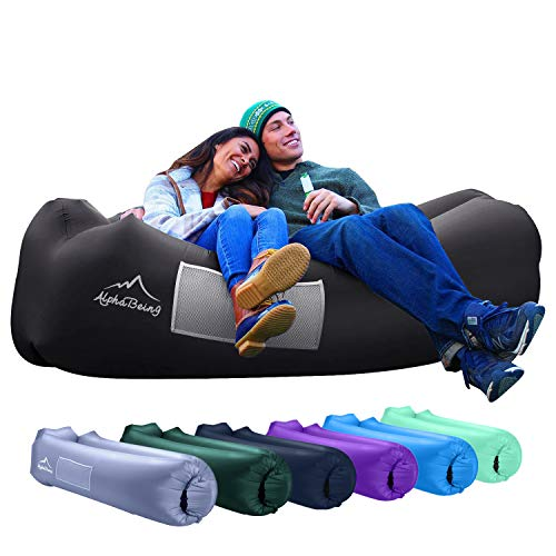 AlphaBeing Inflatable Lounger - Best Air Lounger for Travelling, Camping, Hiking - Ideal Inflatable Couch for Pool and Beach Parties - Perfect Air Chair for Picnics or Festivals (Black)