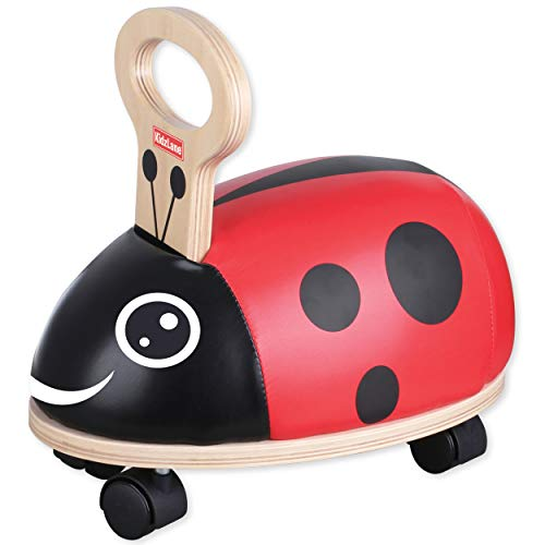 Kidzlane Mini Bug Ride On - Sturdy Wooden Toddler Riding Toy with Plush Seat & Gliding Wheels – 100% Safety Certified