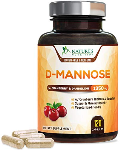 D-Mannose Capsules with Cranberry Extra Strength Support 1350mg - Natural Urinary Health Support - Made in USA - Vegan Fast-Acting Caps with Dandelion and Hibiscus for Men and Women - 120 Capsules