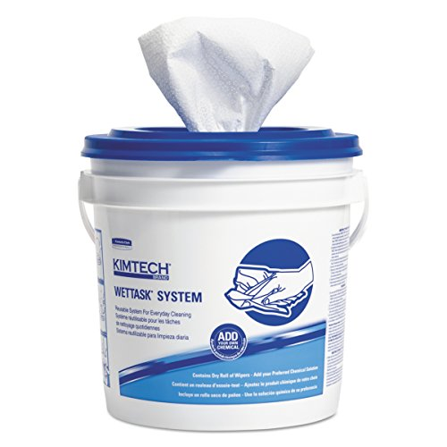 Kimtech 06411 WetTask System-Bleach/Disinfectant/Sanitizer w/Bucket,12X12.5, 90 per Roll (Case of 6 Rolls)
