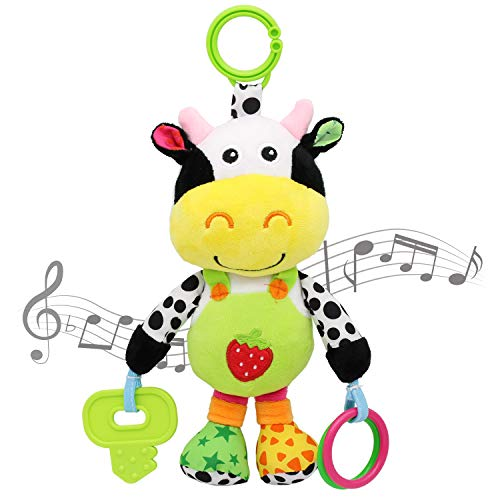 MARUMINE Baby Car Seat Toys with 24 Music and Teether, Infant Soft Plush Rattle, Early Development Hanging Stroller Toys for 0, 3, 6, 9, 12 Months Newborn Boys Girls Gifts (Cow)