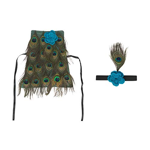 Feynman Newborn Baby Photography Peacock Costume Green