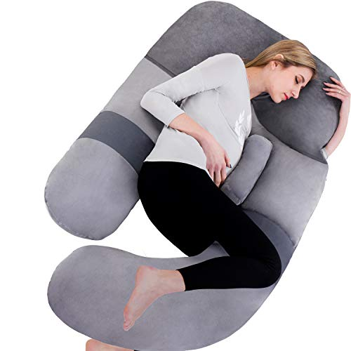 AS AWESLING 60in Full Body Pillow | Nursing, Maternity and Pregnancy Body Pillow | Extra Large U Shape Pillow and Lounger with Detachable Side, Separate Support Pillow and Removable Cover (Grey)…