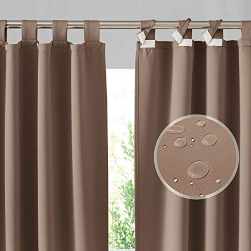 RYB HOME Outdoor Patio Curtains - Detachable Top Blackout Curtains Waterproof Privacy Screen for Porch Pergola Garden Gazebo Canopy, 1 Pair, Width 52 x Length 84, Mocha