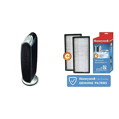 Honeywell HFD-120-Q QuietClean Oscillating Air Purifier with Permanent Washable Filters & HEPAClean Air, 2 count, C Filter, 2 count